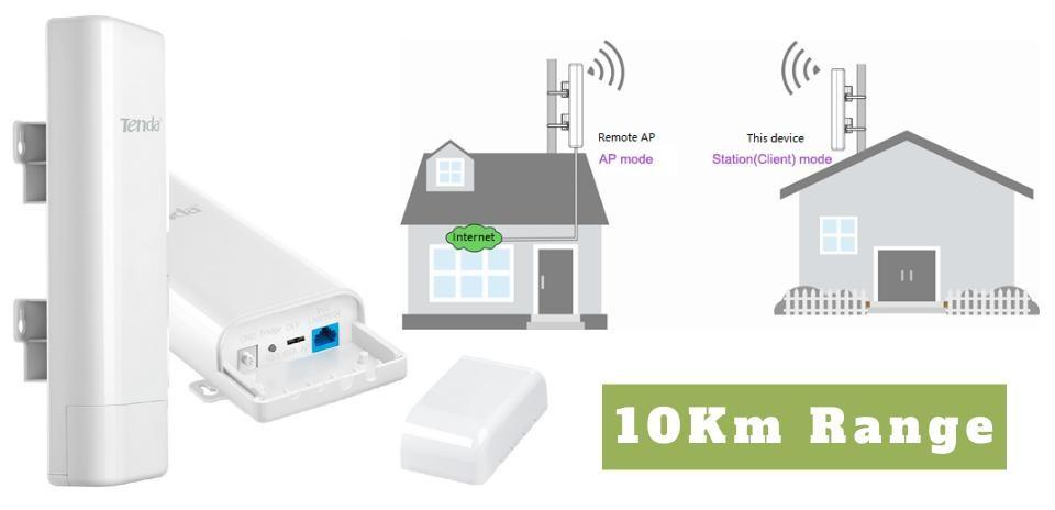10Km Long Range Wireless Network Bridge To Bring Internet to a remote location.